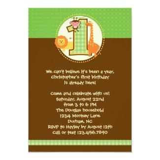 "Jungle Safari First Birthday Invitation 5"" X 7"" Invitation Card"