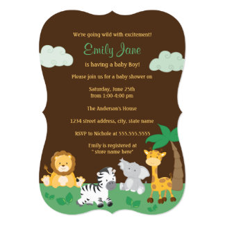 Jungle Safari Gender Neutral Baby Shower Card