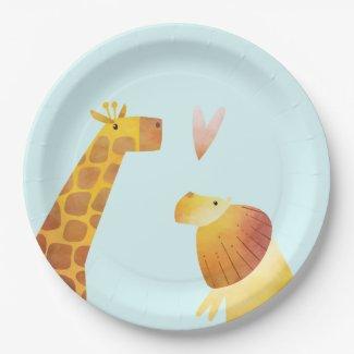 Jungle Safari Giraffe and Lion Paper Plates