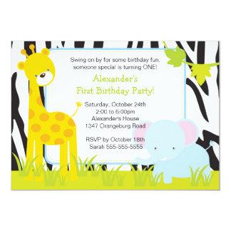 Jungle Safari Giraffe Birthday Party Invitation
