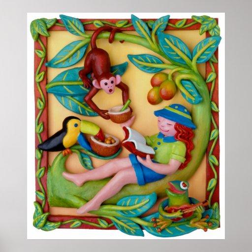 Jungle Safari Girls Room Poster