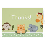 JUNGLE SAFARI GREEN  Folded Thank you note Stationery Note Card