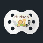"""Jungle Safari Pacifier Personalized with Baby Name<br><div class=""""desc"""">Cute personalized pafi for you little guy! Some graphics create by zenware designs @mygrafico.com Thanks!</div>"""