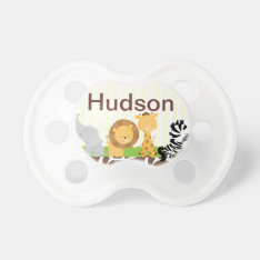 Jungle Safari Pacifier Personalized With Baby Name at Zazzle