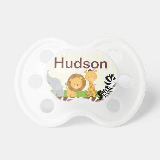 Jungle Safari Pacifier Personalized with Baby Name Booginhead Pacifier