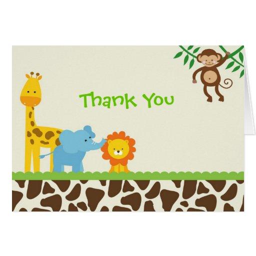 Jungle Safari Thank You Notes Cards Zazzle