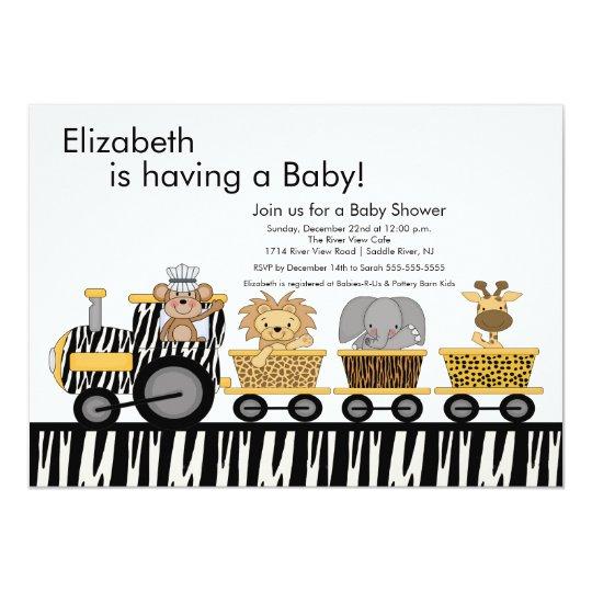 Jungle Safari Train Baby Shower Invitation
