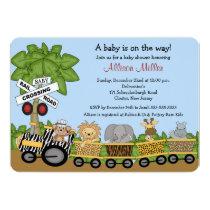 """Jungle Safari Train Neutral Baby Shower Invitation 5"""" X 7"""" Invitation Card"""