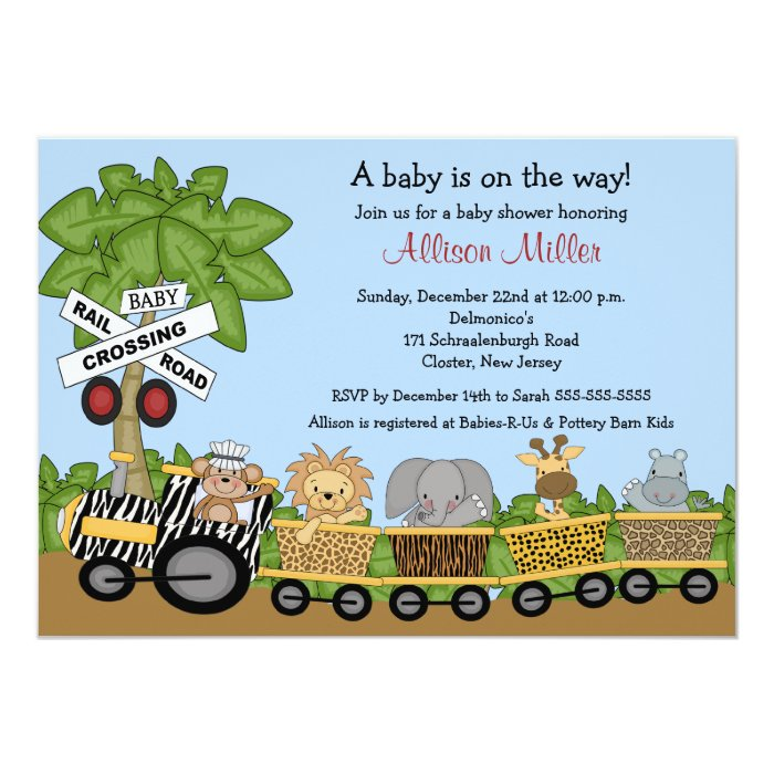 Jungle Safari Train Neutral Baby Shower Invitation