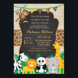 "Jungle Safari Wild Baby Shower Invitation<br><div class=""desc"">Jungle Safari Wild Baby Shower Invite: This jungle and safari animal invitation is perfect for your baby shower!</div>"
