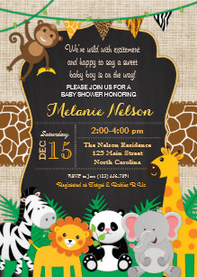 Baby shower invitations safari boy or girl wild animals jungle.