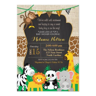 Toddler & Baby themed Jungle Safari Wild Baby Shower Invitation