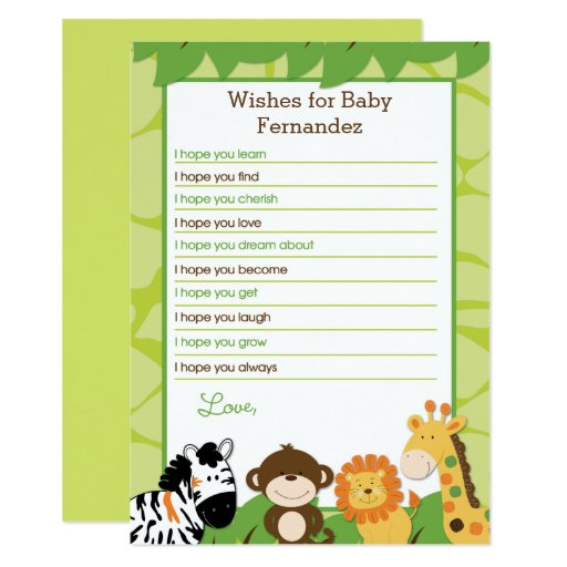 Jungle Safari Wishes for Baby Printed Cards
