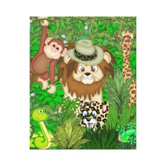 Jungle  Safari Wrapped Canvas KIDS ROOM MURAL Canvas Print