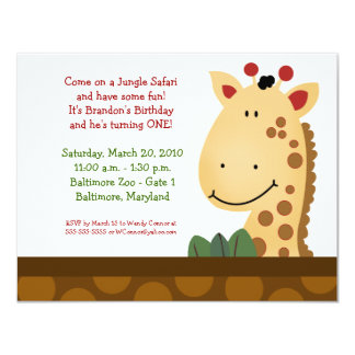 JUNGLE SAFARI Zanzibar Giraffe Zoo Birthday 4x5 4.25x5.5 Paper Invitation Card