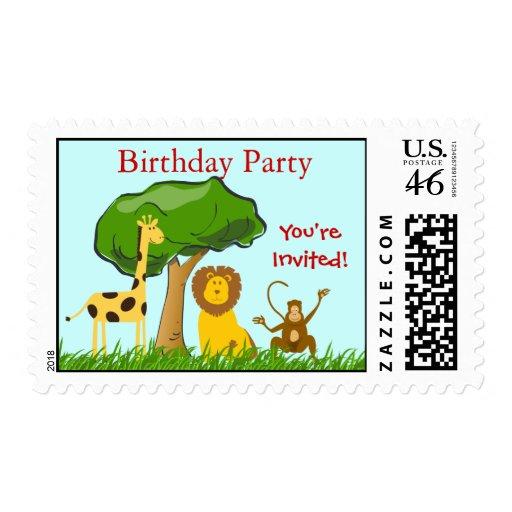 Jungle Safari Zoo Animals Kids Birthday Party Stamps