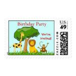 Jungle Safari Zoo Animals Kids Birthday Party Stamp