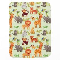 Jungle Safari Zoo Animals Pattern Stroller Blanket
