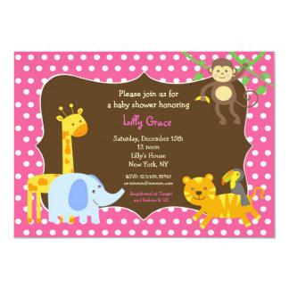 Jungle Safari Zoo Baby Shower Invitations Girl