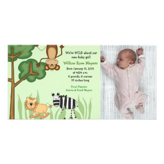 Jungle Safari Zoo Photo Birthday / Birth Card