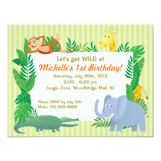Zoo theme invitations announcements zazzle jungle safari zoo themed birthday invitation card stopboris