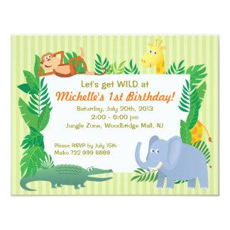 Jungle SAFARI Zoo themed Birthday Invitation Card