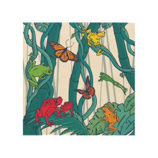 Jungle Scene with Tree Frogs and Butterflies Wood Wall Art
