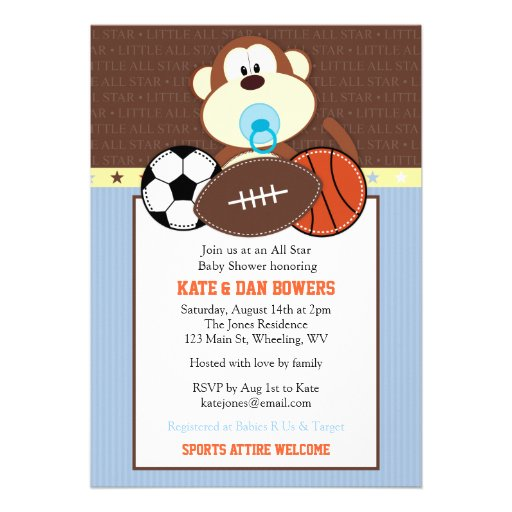 jungle sports monkey baby shower invitation 5 x 7 invitation card