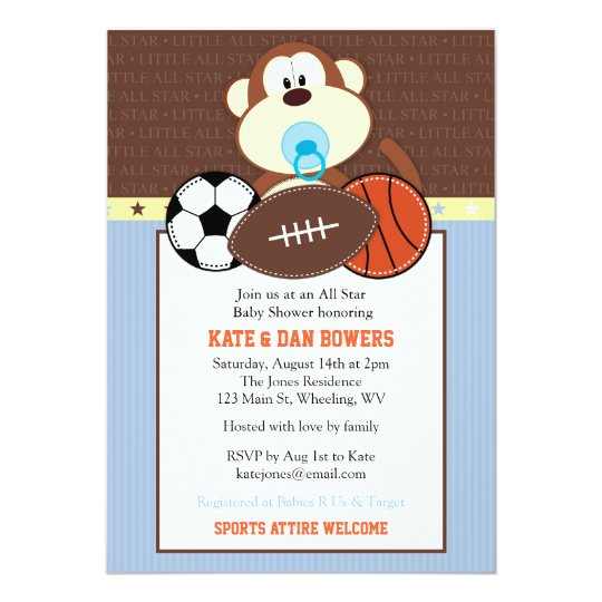 Jungle Sports Monkey Baby Shower Invitation Zazzle Com