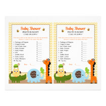 Jungle Stack Animals Price Game Baby Shower Flyer