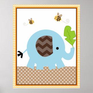 Jungle Stack Elephant Baby Nursery Art Poster