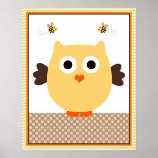 Jungle Stack Owl Baby Nursery Art Poster
