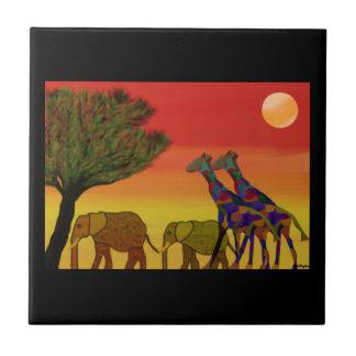 Jungle Sunset Ceramic Tile
