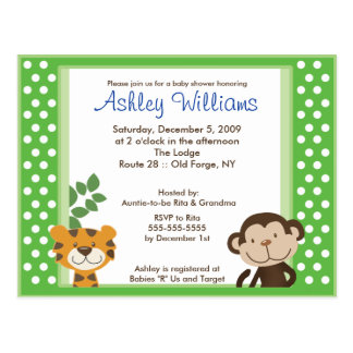 JUNGLE TALES PINK Baby Shower Postcard Invitation