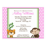 JUNGLE TALES PINK Baby Shower Postcard Invitation