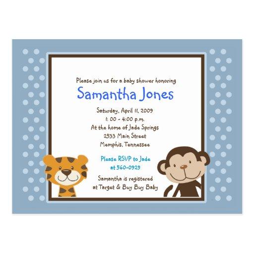 Jungle Tales Safari Blue Baby Shower Invitation Postcard
