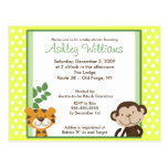 JUNGLE TALES YELLOW Baby Shower Postcard invite