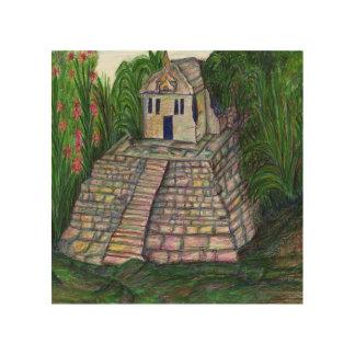 Jungle Temple Wood Print