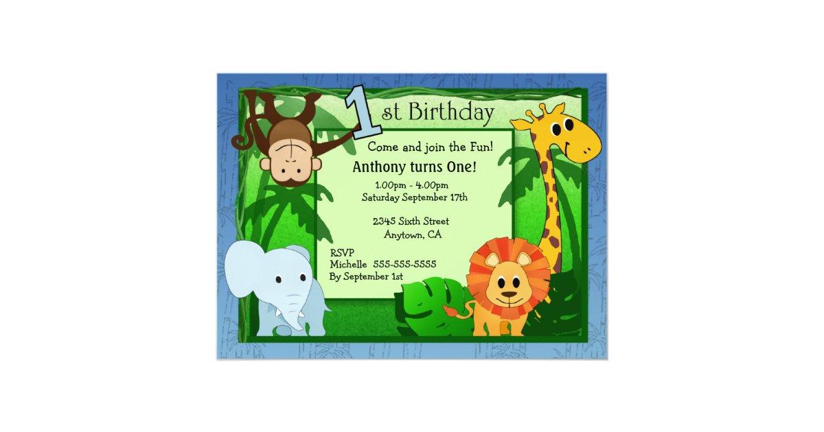 Jungle Theme 1st Birthday Invitation | Zazzle.com