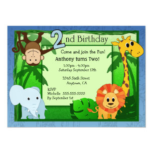 Jungle Theme 2nd Birthday Invitation