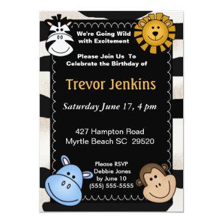 Jungle  Theme Kids Birthday Invitation