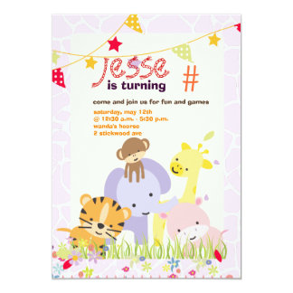 Jungle Theme/Personalized Party/photo Card
