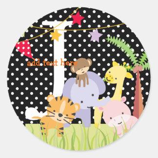 Jungle Theme stickers/add monogram Classic Round Sticker