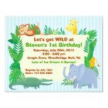 "Jungle themed Birthday Invitation Card 4.25"" X 5.5"" Invitation Card"