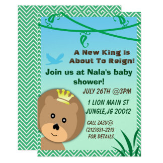 Jungle themed lion baby shower invitation