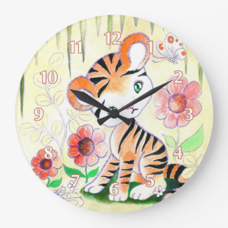 Jungle Tiger Cub Large Clock