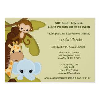 """Jungle Time Animals Baby Shower Invitation JTN-E 5"""" X 7"""" Invitation Card"""