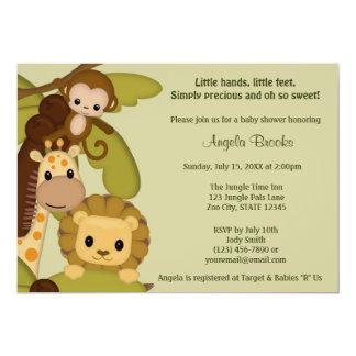 "Jungle Time Animals Baby Shower Invitation JTN-L 5"" X 7"" Invitation Card"