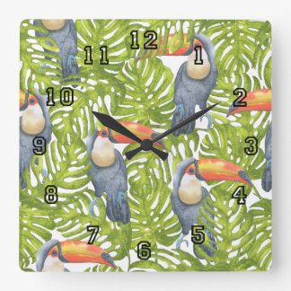 Jungle Toucan Bird Trees Pattern Square Wall Clock