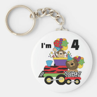 Jungle Train 4th Birthday  Tshirts and Gifts Basic Round Button Keychain